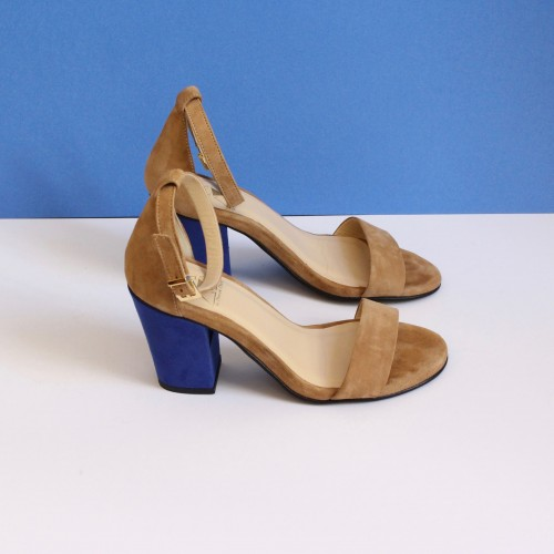 beige sandals electric blue high heels