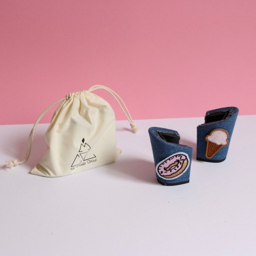 8 cm jeans heels with donuts and ice-cream patch