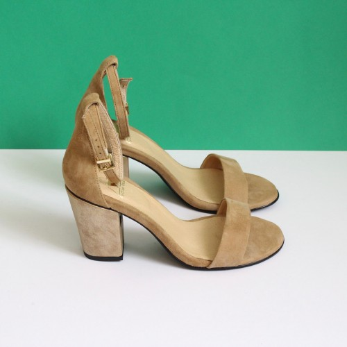 beige sandals gold lame heels