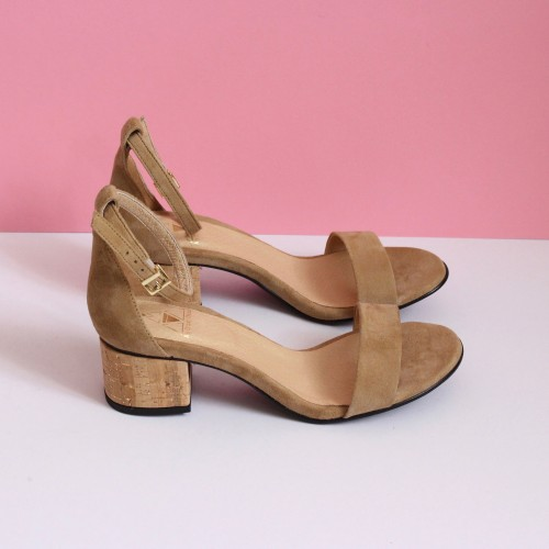 beige sandals cork and gold heels