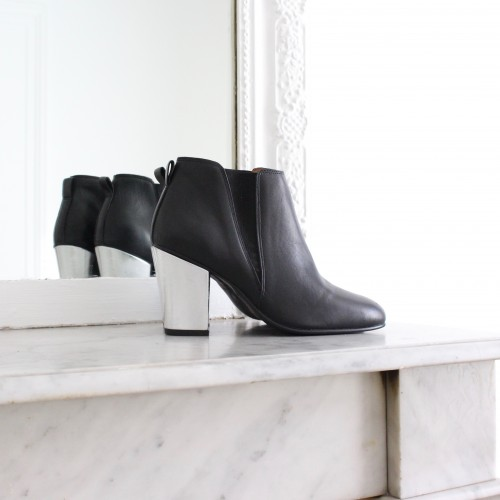 black boots 8cm silver heels