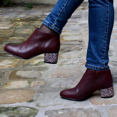 Bottines bordeaux talons paillettes