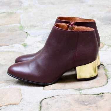 bottines bordeaux talons or