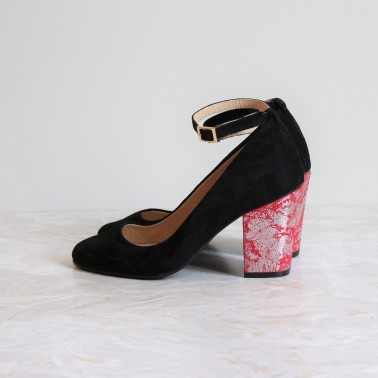 black pumps 8cm red silver heels