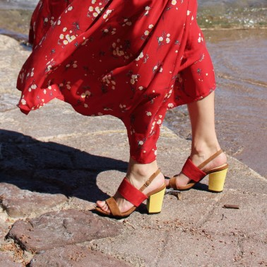 camel and red sandals 8 cm yellow heels
