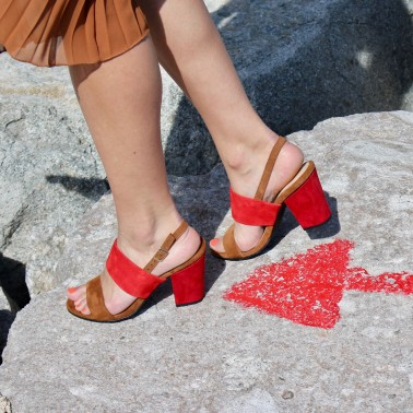 camel and red sandals 8 cm red heels