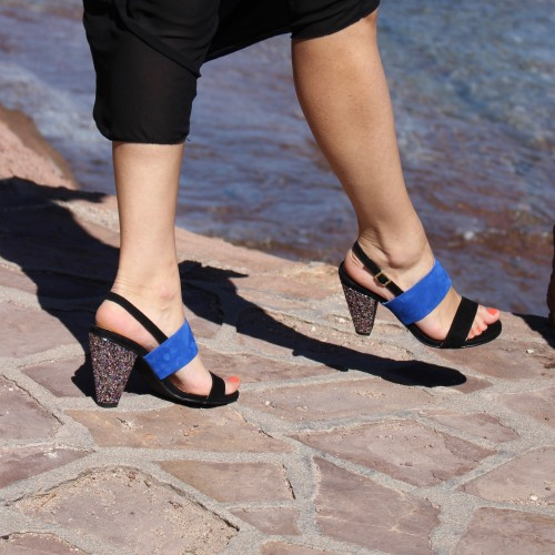 black and blue sandals 9 cm heels