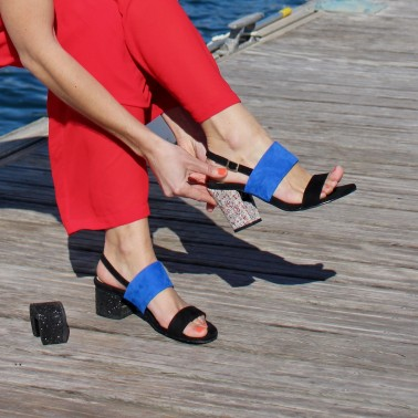 black and blue sandals 8 cm heels