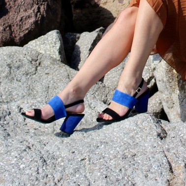 black and blue sandals 8 cm blue heels