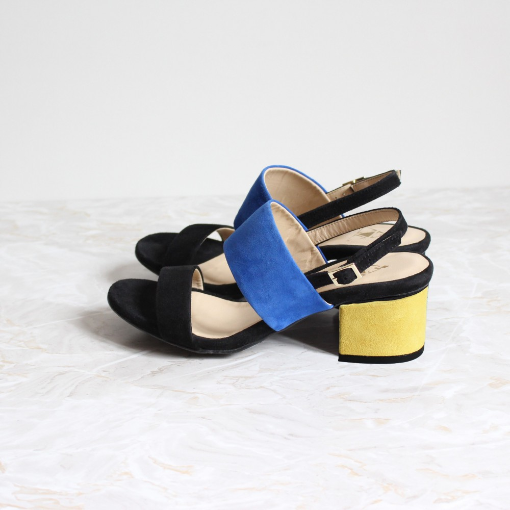 black and blue sandals 4,5 cm yellow heels