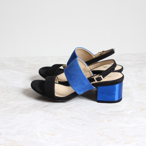 black and blue sandals 4,5 cm metal blue heels