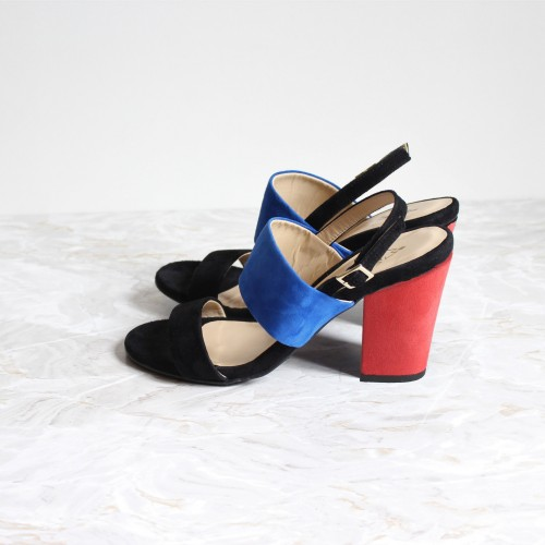 black and blue sandals 8 cm coral red heels