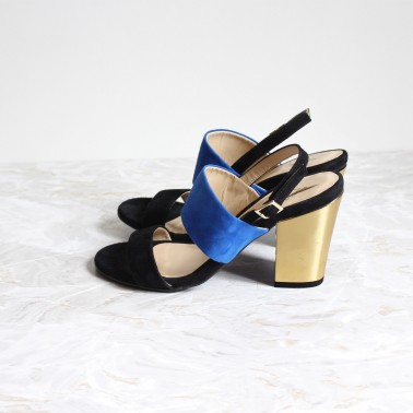 black and blue sandals 8 cm gold heels