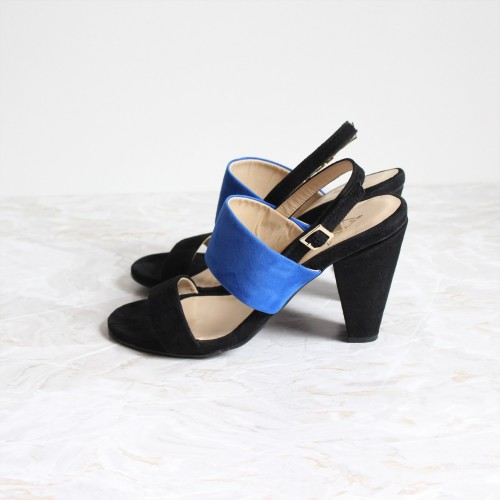 black and blue sandals 9 cm black heels