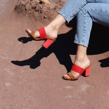 camel and red mules 8 cm coral red heels