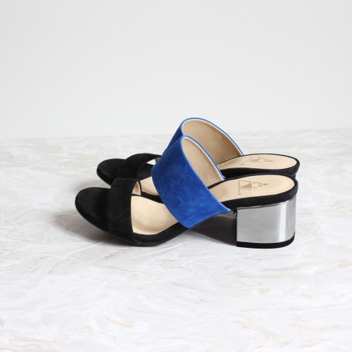 black and blue mules 4,5 cm silver heels