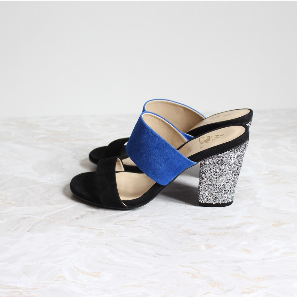 black and blue mules 8 cm silver glitter heels