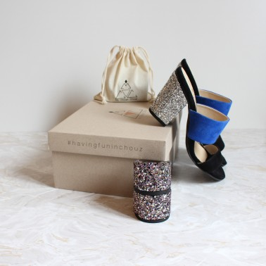 black and blue mules 8 cm silver glitter heels and 4,5 cm multicolored glitter heels
