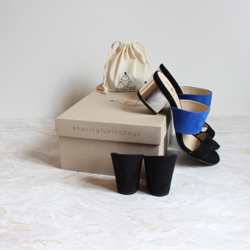 black and blue mules 4,5 cm silver heels and 8 cm black heels