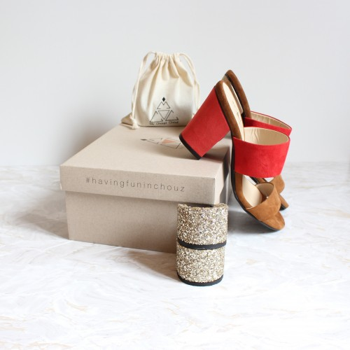 camel and red mules 8 cm coral red heels and 4,5 cm gold glitter heels