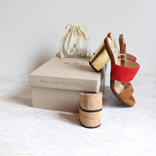 camel and red sandals 8 cm gold heels ans 4,5 cm cork heels