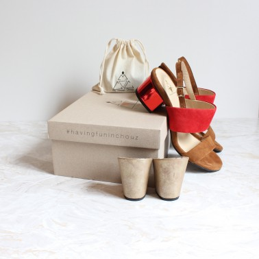 camel and red sandals 8 cm gold lame heels and 4,5 cm metal red heels