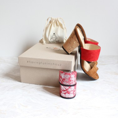 camel and red sandals 8 cm cork heels and 4,5 cm silver red heels