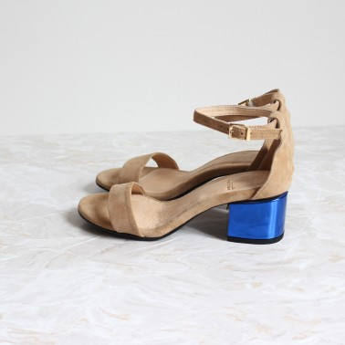 beige sandals 4,5 cm metal blue