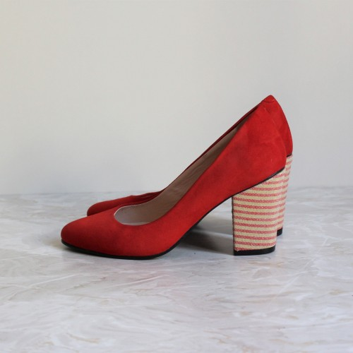 red pumps 8 cm red and gold stripes heels