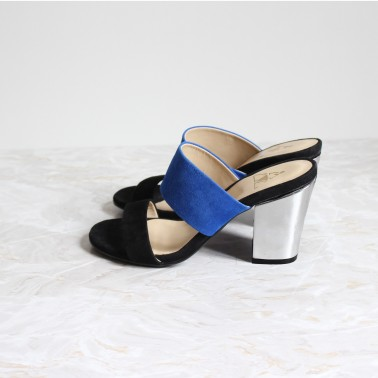 black and blue mules 8cm silver heels