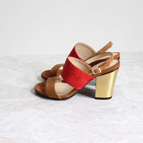 red and camel sandals 8cm gold heels