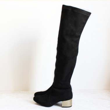 Kelenn over-the-knee boot with gold glitter 4,5 cm heel