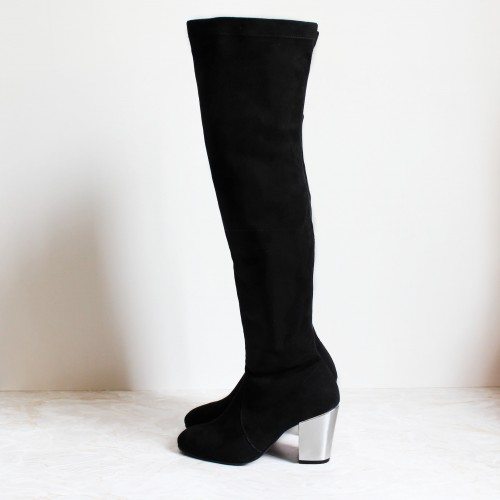 Kelenn over-the-knee boot with metallic silver 8 cm heel