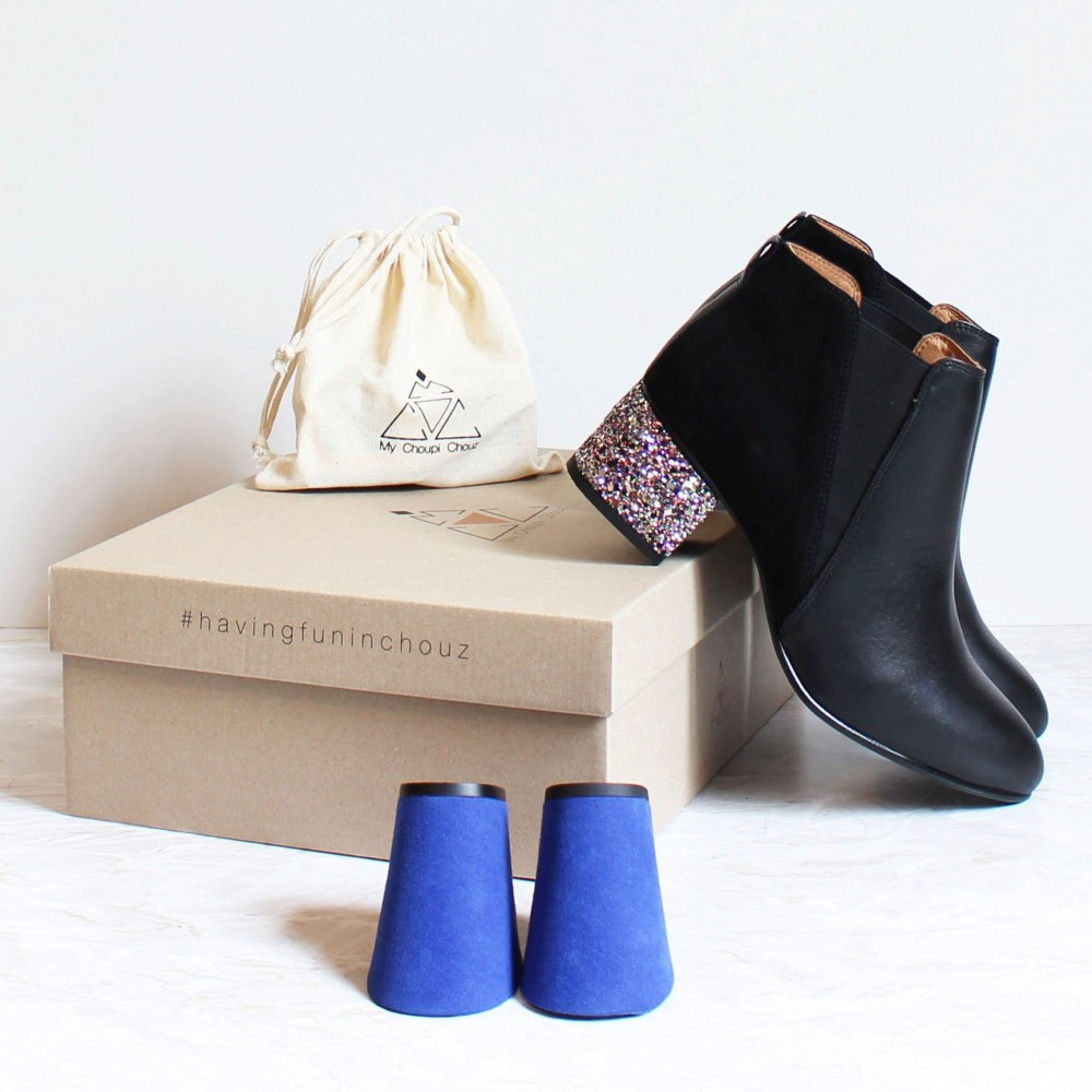 pack black boots multicolor glitter heels and electric blue heels