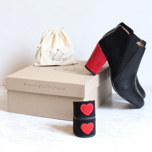 pack black boots red snake heels and  heart patch heels