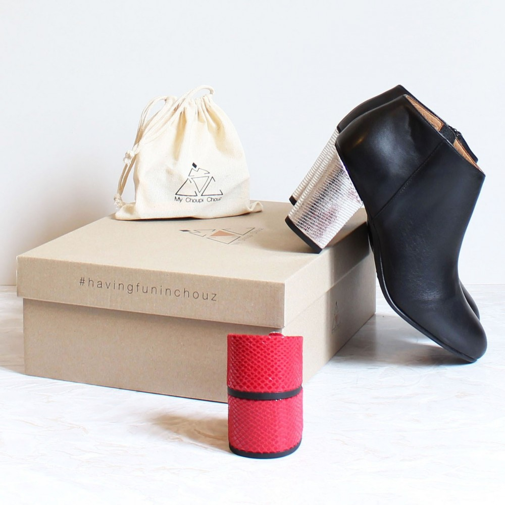 Pack black boots snake silver heels and red snake heels