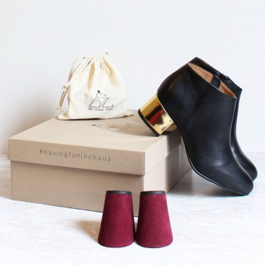 Pack black boots gold heels and burgundy heels