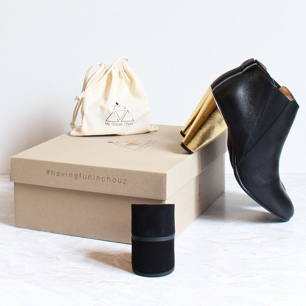 pack black elastic boots golden heels black heels