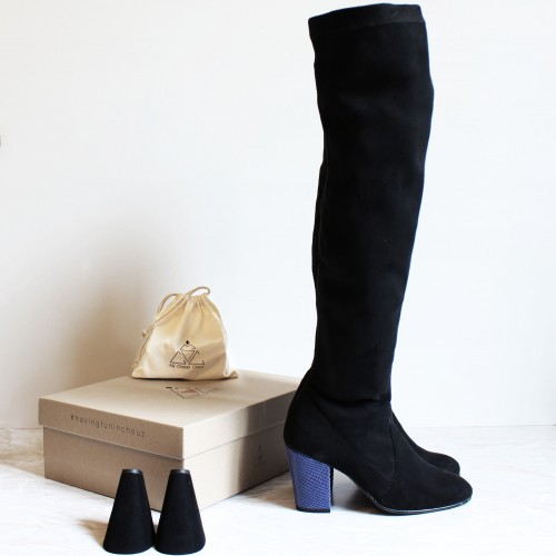 Pack Black Over the knee boots blue snake heels black heels