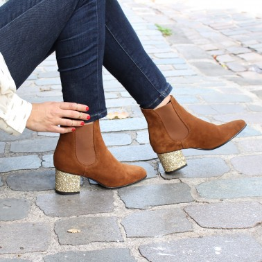 Bottines camel talons paillettes or