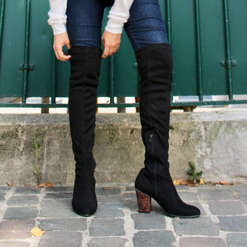 Black over the knee boots brown snake heels
