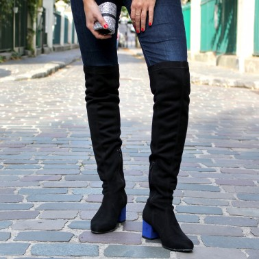 Black over the knee boots blue heels