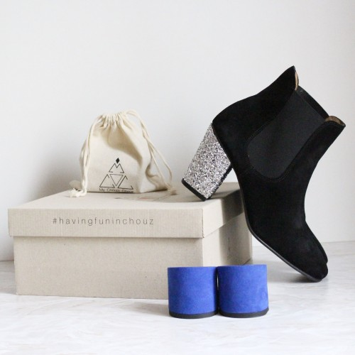 Black suede chelsea boots with interchangeable heels
