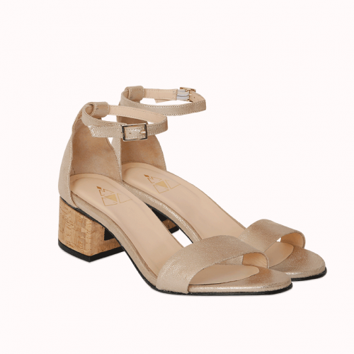 Champagne sandals with interchangeable heels