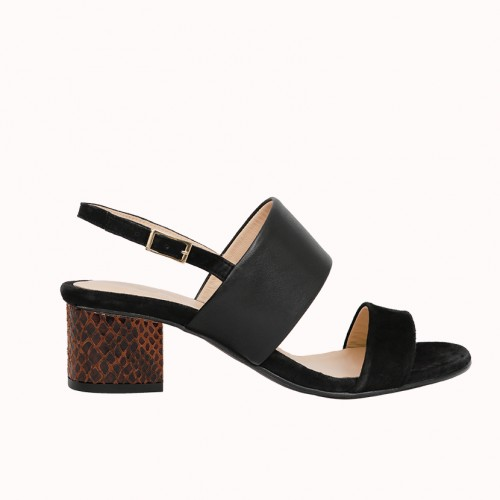 Bi-material Black sandals with interchangeable heels