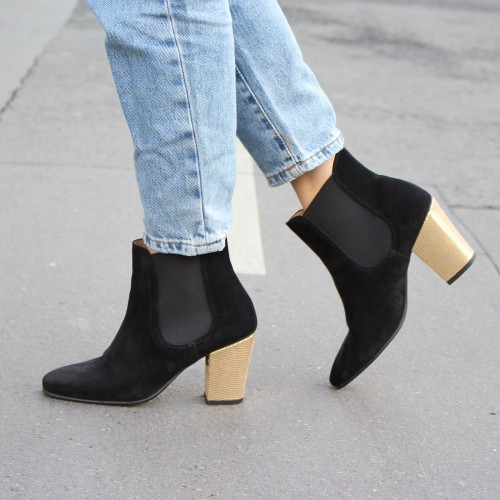 Black suede elastic boots with interchangeable heels Lemercier