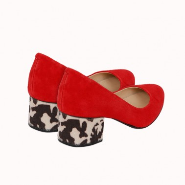 Red suede pumps with interchangeable heels Pigalle