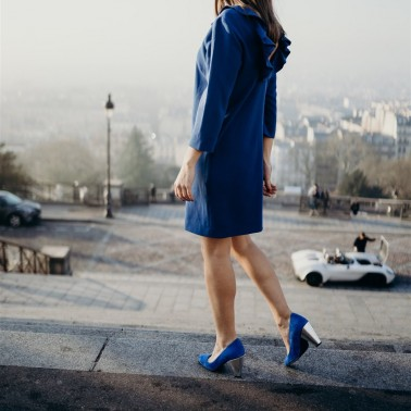 Bleu electric suede pumps with interchangeable heels Abbesses
