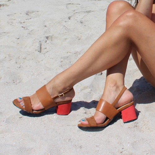 Bi-material camel sandals with interchangeable heels
