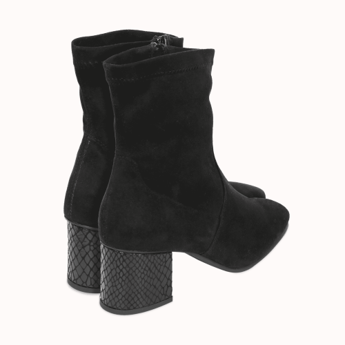 Supple black boots in suede imitation with interchangeable heels Ternes